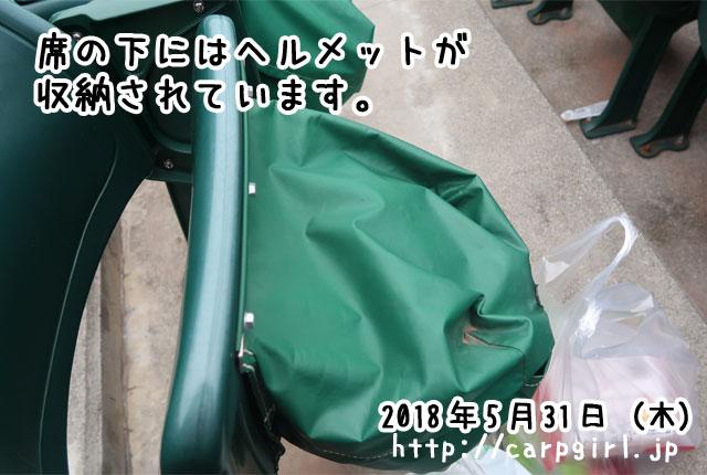 内野砂かぶり席の下にヘルメットが収納されていました。