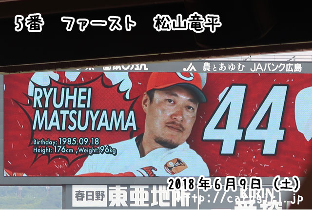 20180609 スタメン 5番松山竜平