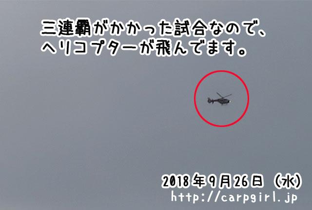 カープ優勝前に飛ぶヘリコプター
