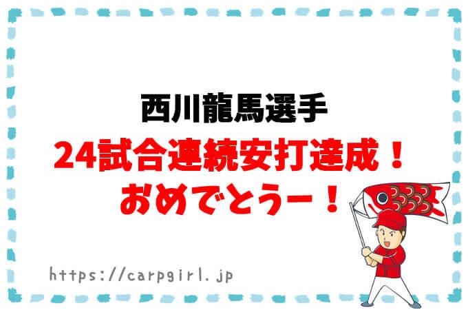 西川龍馬選手が24試合連続安打達成